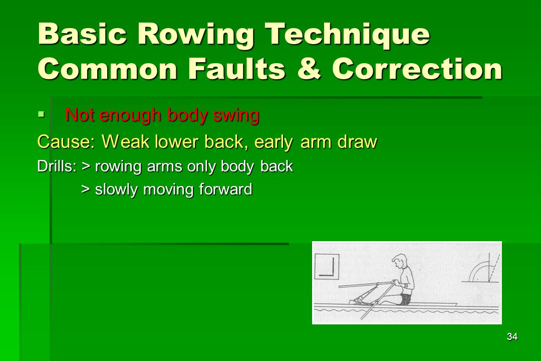 34 Not enough body swing Not enough body swing Cause: Weak lower back, early arm draw Drills: > rowing arms only body back > slowly moving forward > s