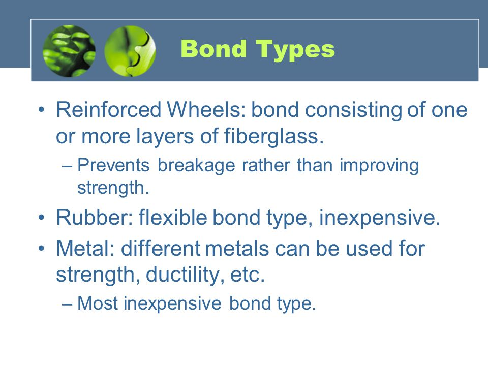 Bond Types Reinforced Wheels: bond consisting of one or more layers of fiberglass.