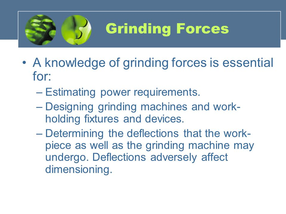 Grinding Forces A knowledge of grinding forces is essential for: –Estimating power requirements.