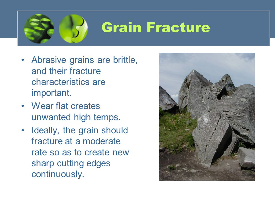 Grain Fracture Abrasive grains are brittle, and their fracture characteristics are important. Wear flat creates unwanted high temps. Ideally, the grai