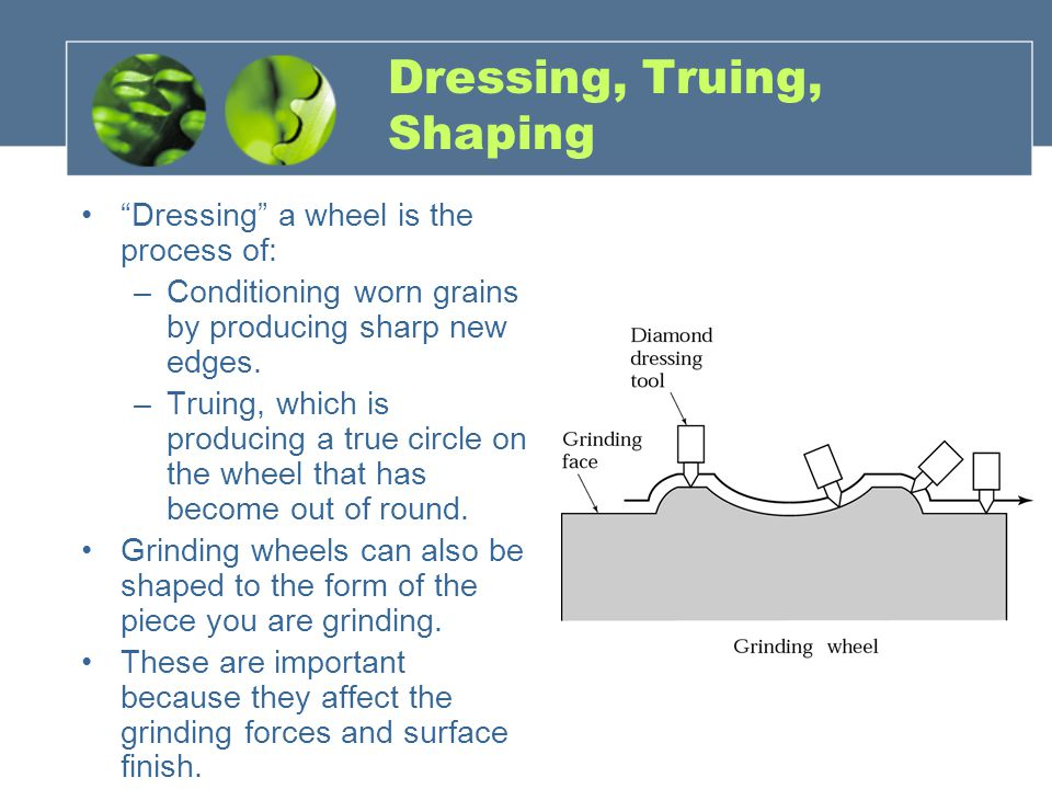 Dressing, Truing, Shaping Dressing a wheel is the process of: –Conditioning worn grains by producing sharp new edges.