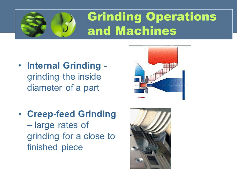 Grinding Operations and Machines Internal Grinding - grinding the inside diameter of a part Creep-feed Grinding – large rates of grinding for a close to finished piece