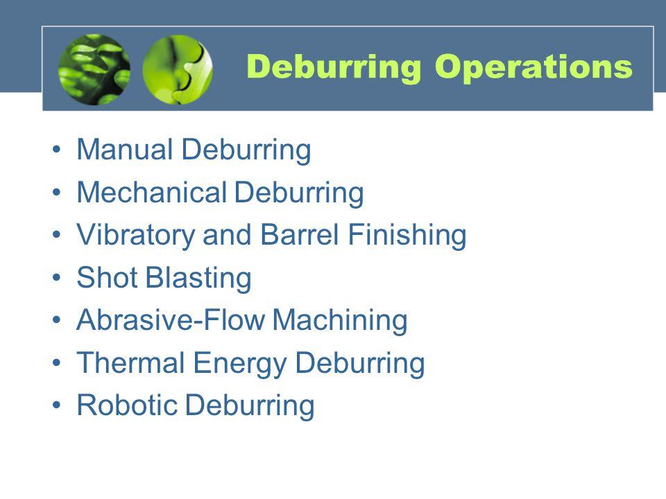 Deburring Operations Manual Deburring Mechanical Deburring Vibratory and Barrel Finishing Shot Blasting Abrasive-Flow Machining Thermal Energy Deburring Robotic Deburring