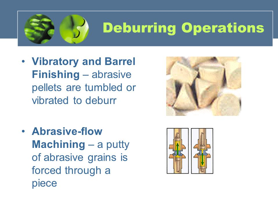 Deburring Operations Vibratory and Barrel Finishing – abrasive pellets are tumbled or vibrated to deburr Abrasive-flow Machining – a putty of abrasive
