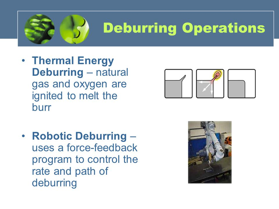Deburring Operations Thermal Energy Deburring – natural gas and oxygen are ignited to melt the burr Robotic Deburring – uses a force-feedback program to control the rate and path of deburring