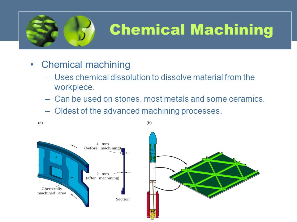Chemical Machining Chemical machining –Uses chemical dissolution to dissolve material from the workpiece. –Can be used on stones, most metals and some