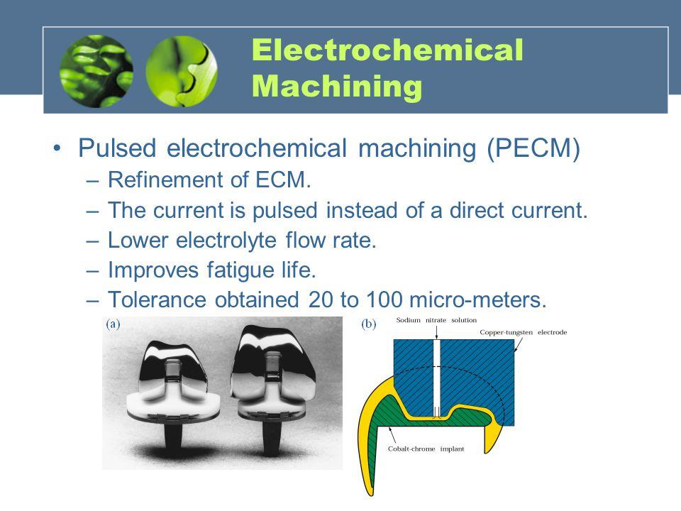 Pulsed electrochemical machining (PECM) –Refinement of ECM.
