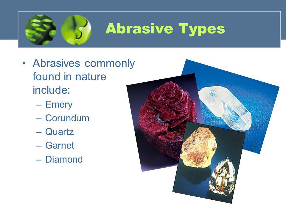 Abrasive Types Abrasives commonly found in nature include: –Emery –Corundum –Quartz –Garnet –Diamond