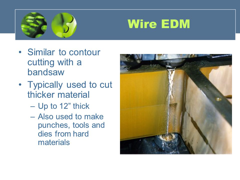 Wire EDM Similar to contour cutting with a bandsaw Typically used to cut thicker material –Up to 12 thick –Also used to make punches, tools and dies f
