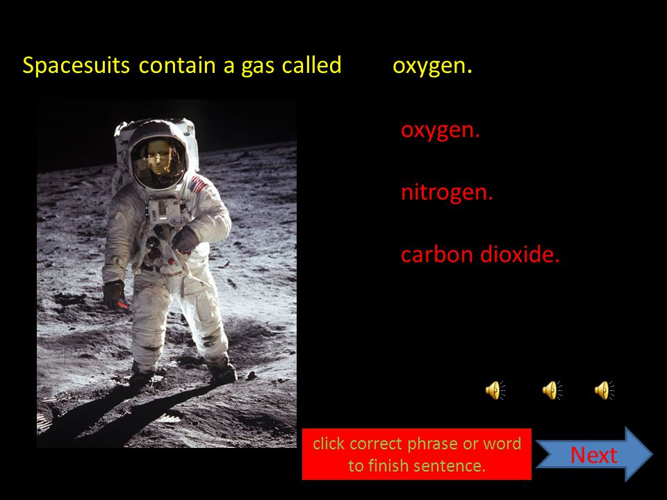 Spacesuits contain a gas called carbon dioxide.nitrogen.