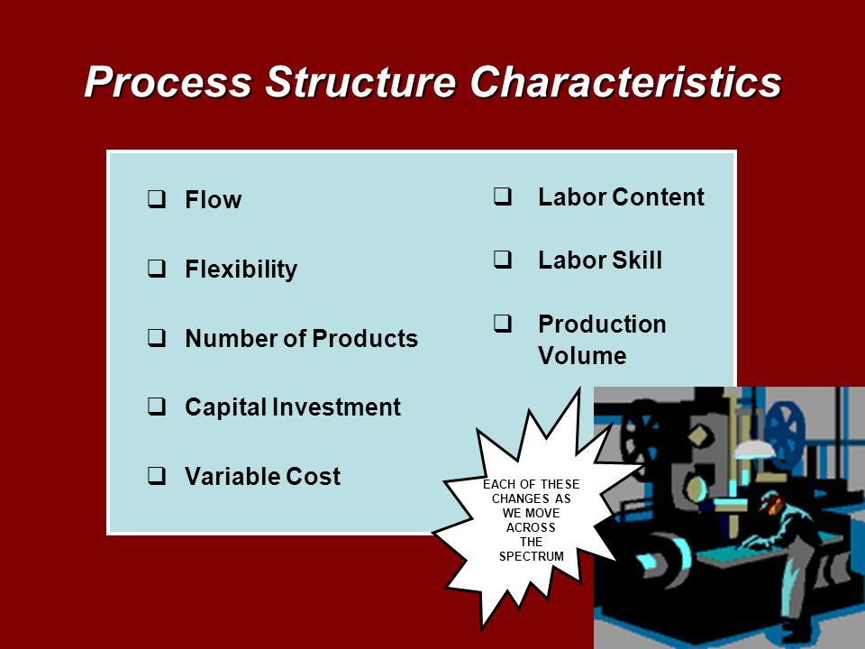 Process Structure Characteristics Flow Flexibility Number of Products Capital Investment Variable Cost Labor Content Labor Skill Production Volume EAC