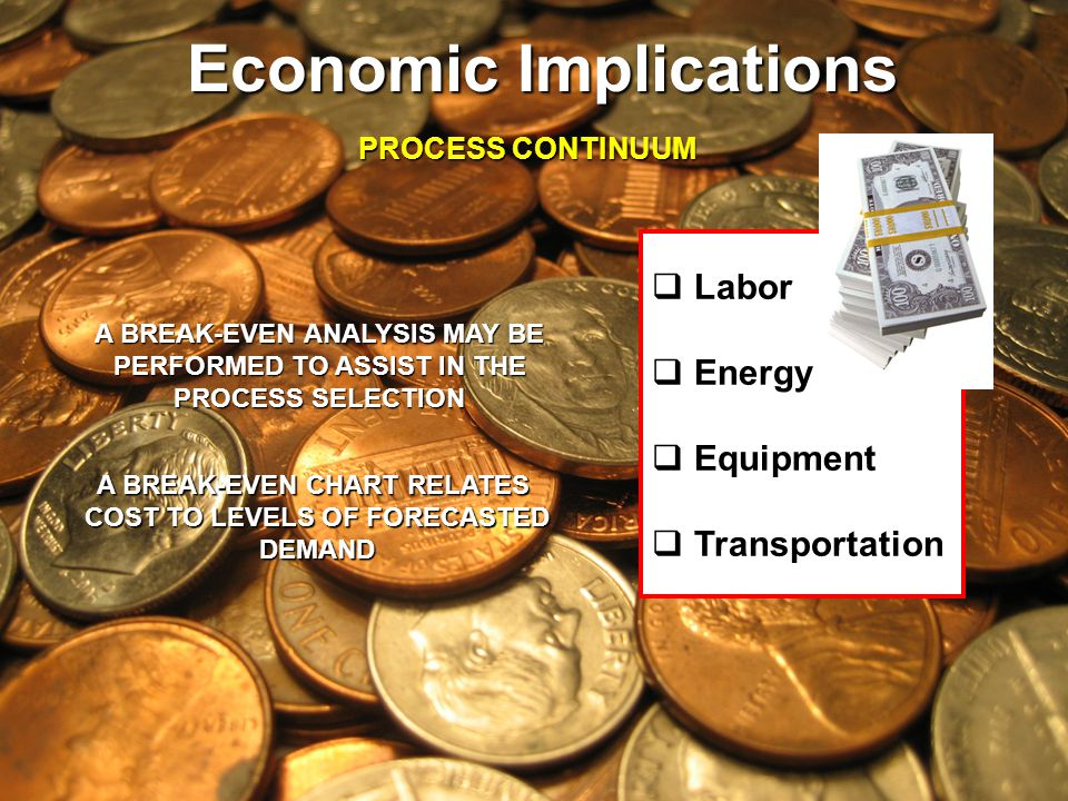 Labor Energy Equipment Transportation Economic Implications PROCESS CONTINUUM A BREAK-EVEN ANALYSIS MAY BE PERFORMED TO ASSIST IN THE PROCESS SELECTIO