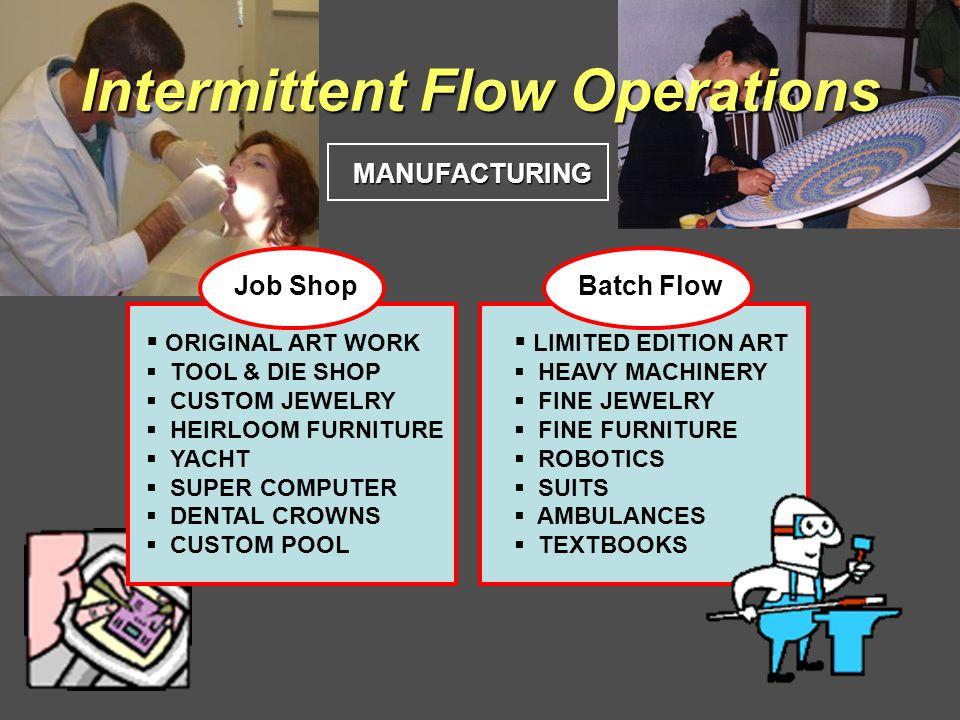 Intermittent Flow Operations MANUFACTURING Job ShopBatch Flow ORIGINAL ART WORK TOOL & DIE SHOP CUSTOM JEWELRY HEIRLOOM FURNITURE YACHT SUPER COMPUTER DENTAL CROWNS CUSTOM POOL LIMITED EDITION ART HEAVY MACHINERY FINE JEWELRY FINE FURNITURE ROBOTICS SUITS AMBULANCES TEXTBOOKS