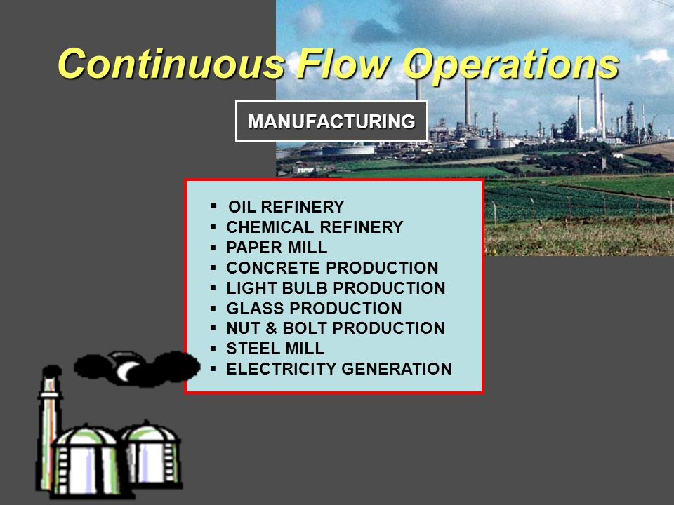 Continuous Flow Operations MANUFACTURING OIL REFINERY CHEMICAL REFINERY PAPER MILL CONCRETE PRODUCTION LIGHT BULB PRODUCTION GLASS PRODUCTION NUT & BOLT PRODUCTION STEEL MILL ELECTRICITY GENERATION