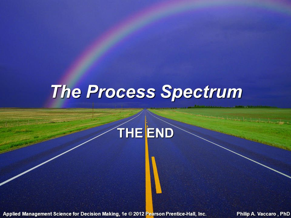 The Process Spectrum THE END Applied Management Science for Decision Making, 1e © 2012 Pearson Prentice-Hall, Inc. Philip A. Vaccaro, PhD