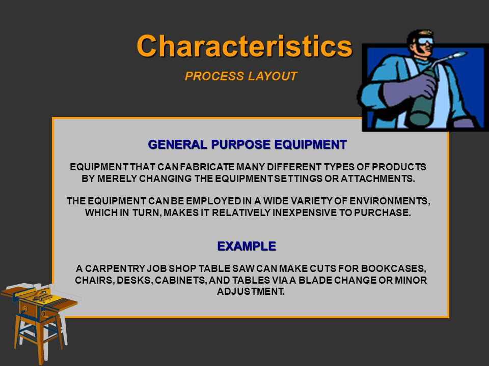 Characteristics PROCESS LAYOUT GENERAL PURPOSE EQUIPMENT EQUIPMENT THAT CAN FABRICATE MANY DIFFERENT TYPES OF PRODUCTS BY MERELY CHANGING THE EQUIPMEN