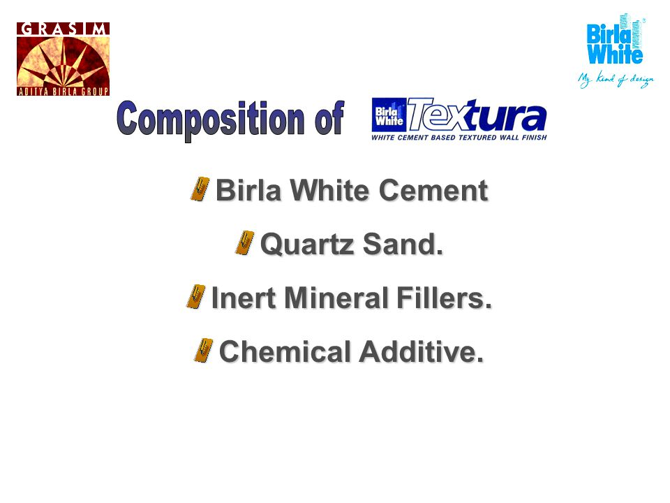 Birla White Cement Quartz Sand. Inert Mineral Fillers. Chemical Additive.