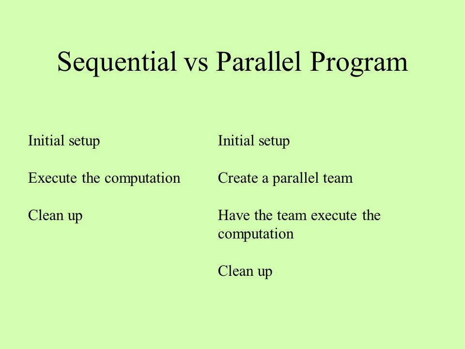 Sequential vs Parallel Program Initial setup Execute the computation Clean up Initial setup Create a parallel team Have the team execute the computation Clean up
