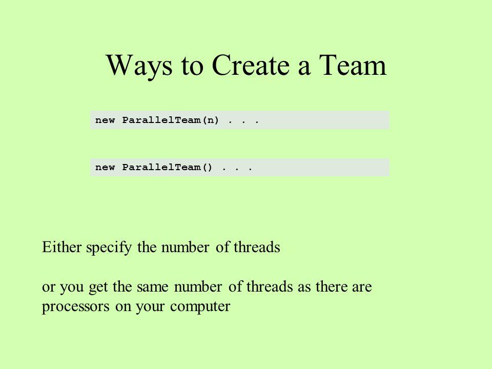 Ways to Create a Team new ParallelTeam(n)...