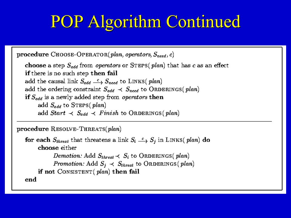 POP Algorithm Continued