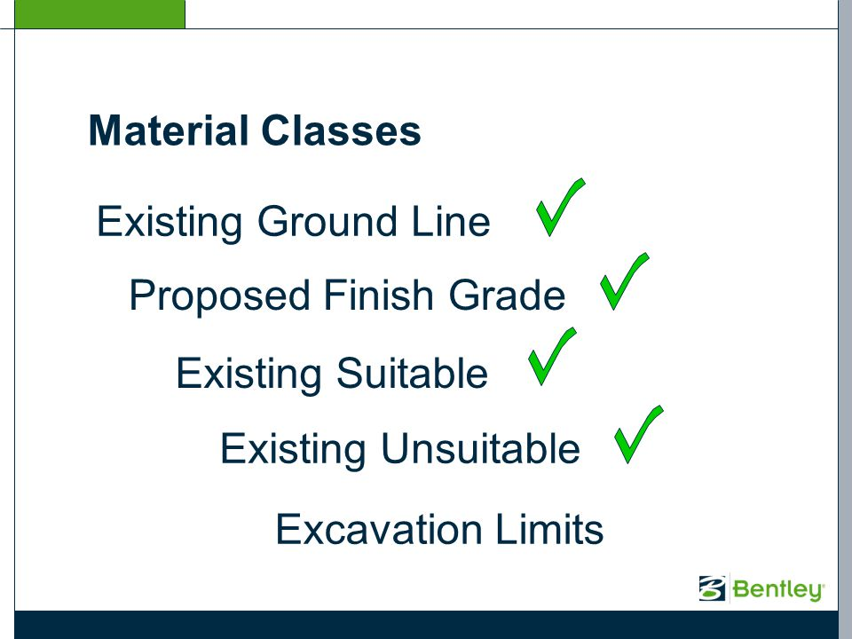 Existing Ground Line Proposed Finish Grade Existing Suitable Existing Unsuitable Excavation Limits Material Classes