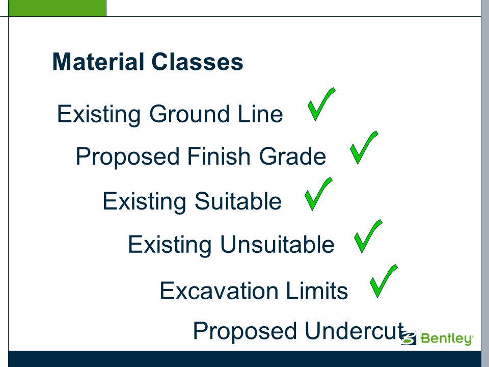 Existing Ground Line Proposed Finish Grade Existing Suitable Existing Unsuitable Excavation Limits Proposed Undercut Material Classes
