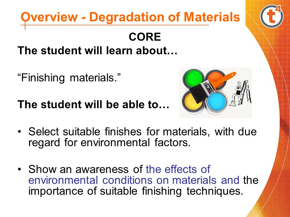 Overview - Degradation of Materials CORE The student will learn about… Finishing materials.