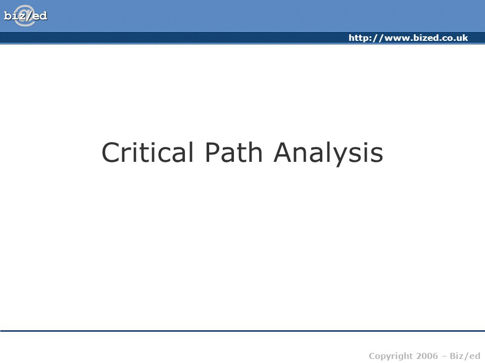 http://www.bized.co.uk Copyright 2006 – Biz/ed Critical Path Analysis