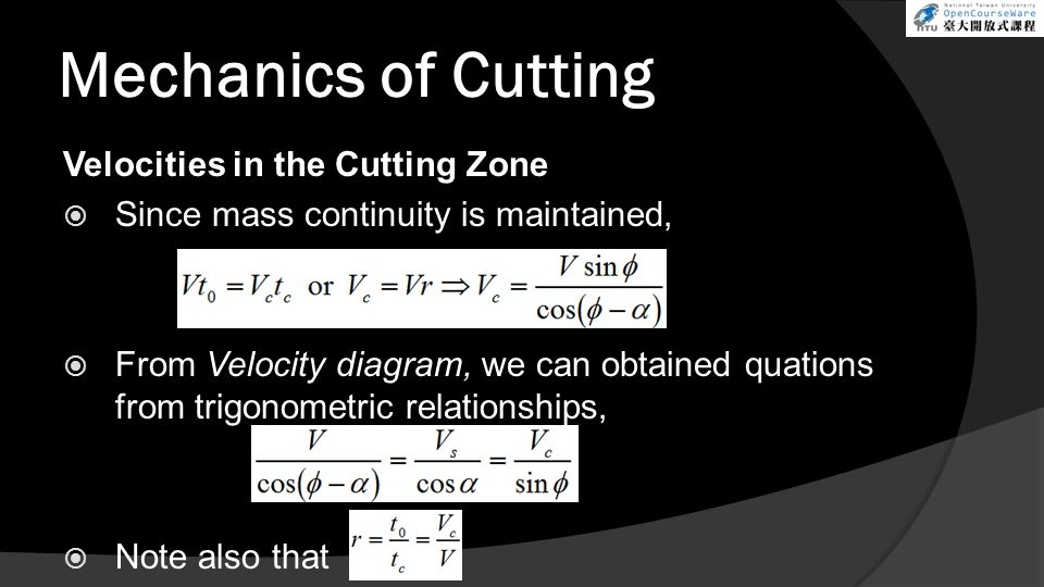 Mechanics of Cutting Velocities in the Cutting Zone Since mass continuity is maintained, From Velocity diagram, we can obtained quations from trigonom