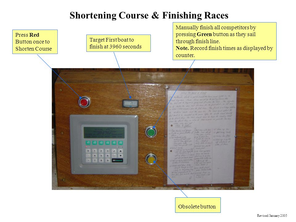 Shortening Course & Finishing Races Press Red Button once to Shorten Course Target First boat to finish at 3960 seconds Manually finish all competitor