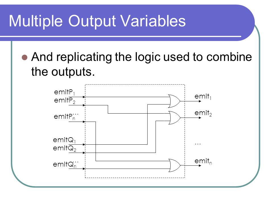 Multiple Output Variables And replicating the logic used to combine the outputs.