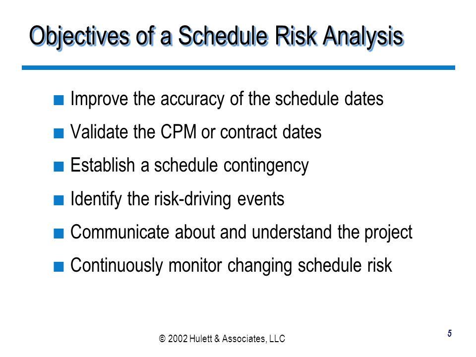 © 2002 Hulett & Associates, LLC 6 Three Basic Components of Schedule Risk Analysis Risk of the activity duration DesignUnit 1 30d