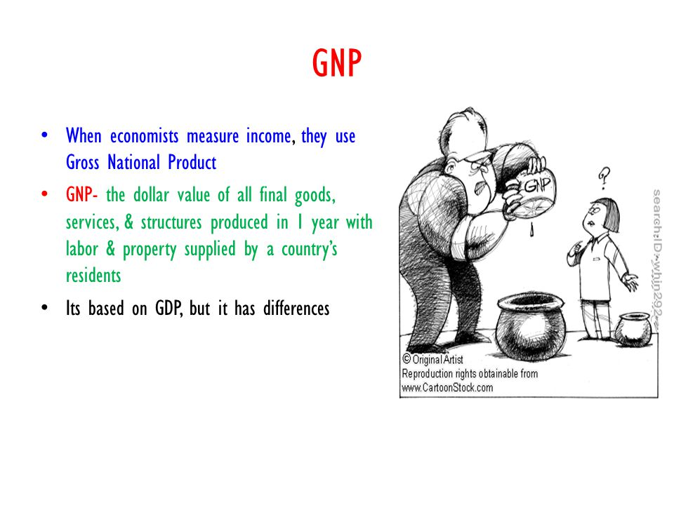 GNP When economists measure income, they use Gross National Product GNP- the dollar value of all final goods, services, & structures produced in 1 yea
