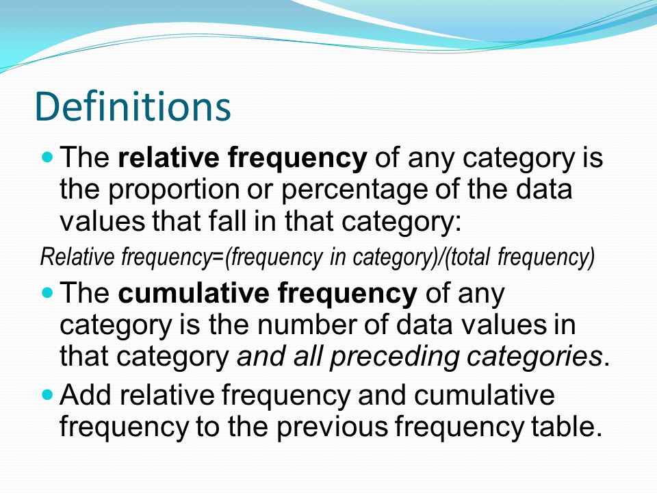 Definitions The relative frequency of any category is the proportion or percentage of the data values that fall in that category: Relative frequency=(