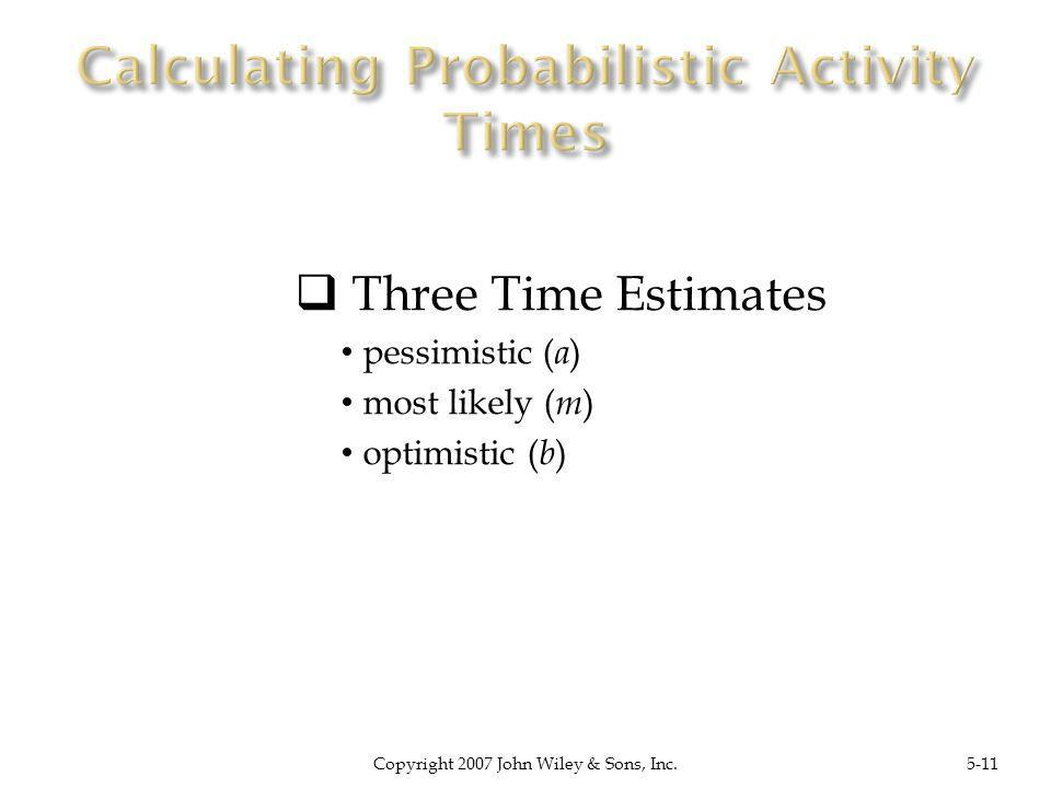 Three Time Estimates pessimistic ( a ) most likely ( m ) optimistic ( b ) Copyright 2007 John Wiley & Sons, Inc.5-11