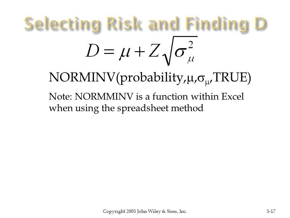 Copyright 2005 John Wiley & Sons, Inc.5-17 NORMINV(probability,,,TRUE) Note: NORMMINV is a function within Excel when using the spreadsheet method