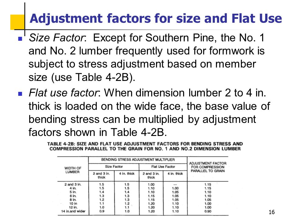 16 Adjustment factors for size and Flat Use Size Factor: Except for Southern Pine, the No. 1 and No. 2 lumber frequently used for formwork is subject