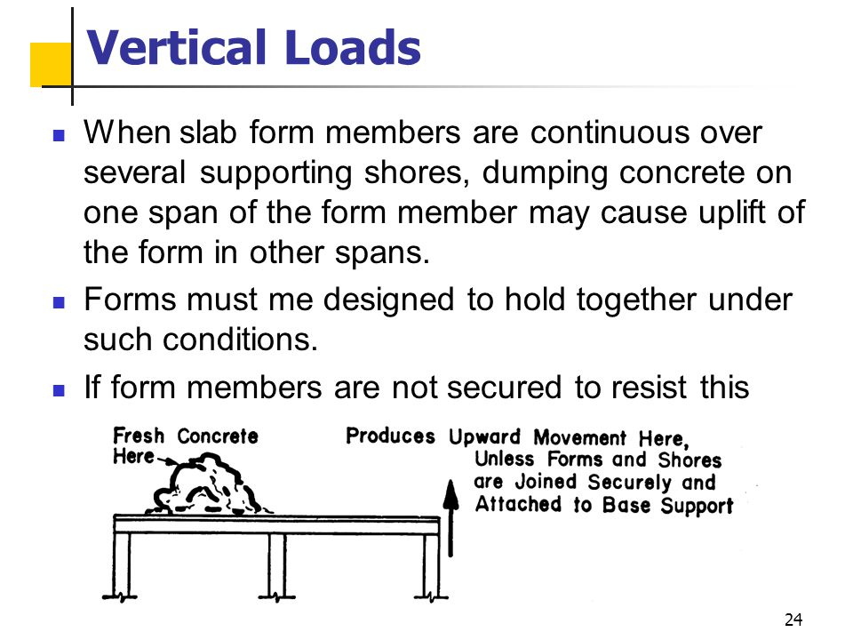 24 Vertical Loads When slab form members are continuous over several supporting shores, dumping concrete on one span of the form member may cause upli