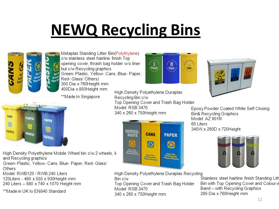 NEWQ Recycling Bins Metaplas Standing Litter Bin(Polythylene) c/w stainless steel hairline finish Top opening cover, thrash bag holder w/o liner but c