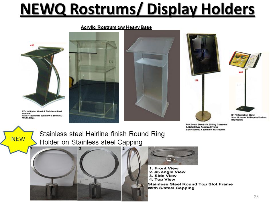 NEWQ Rostrums/ Display Holders NEW Stainless steel Hairline finish Round Ring Holder on Stainless steel Capping Acrylic Rostrum c/w Heavy Base 23