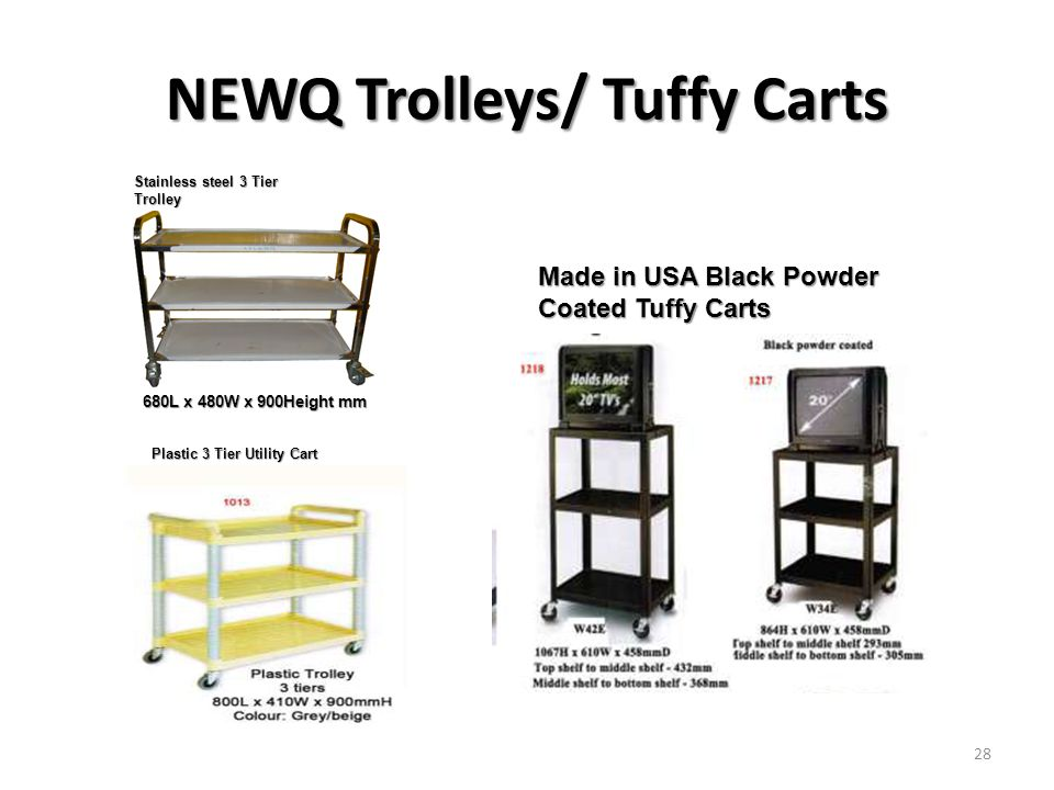 NEWQ Trolleys/ Tuffy Carts Plastic 3 Tier Utility Cart Stainless steel 3 Tier Trolley Made in USA Black Powder Coated Tuffy Carts 680L x 480W x 900Hei