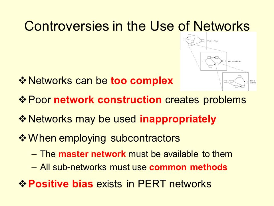 Controversies in the Use of Networks Networks can be too complex Poor network construction creates problems Networks may be used inappropriately When employing subcontractors –The master network must be available to them –All sub-networks must use common methods Positive bias exists in PERT networks