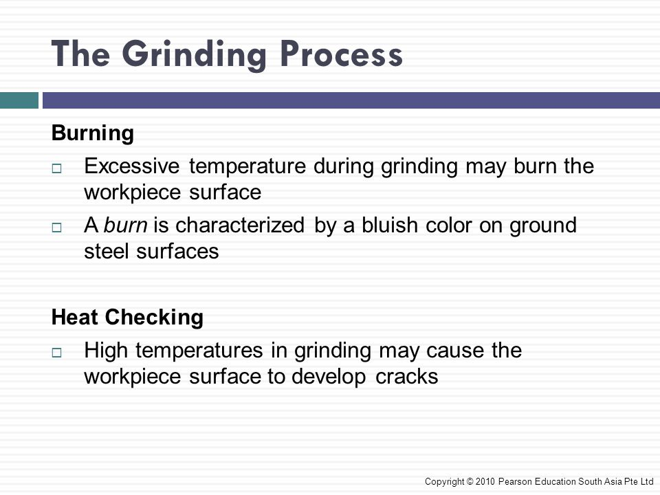 The Grinding Process Burning Excessive temperature during grinding may burn the workpiece surface A burn is characterized by a bluish color on ground