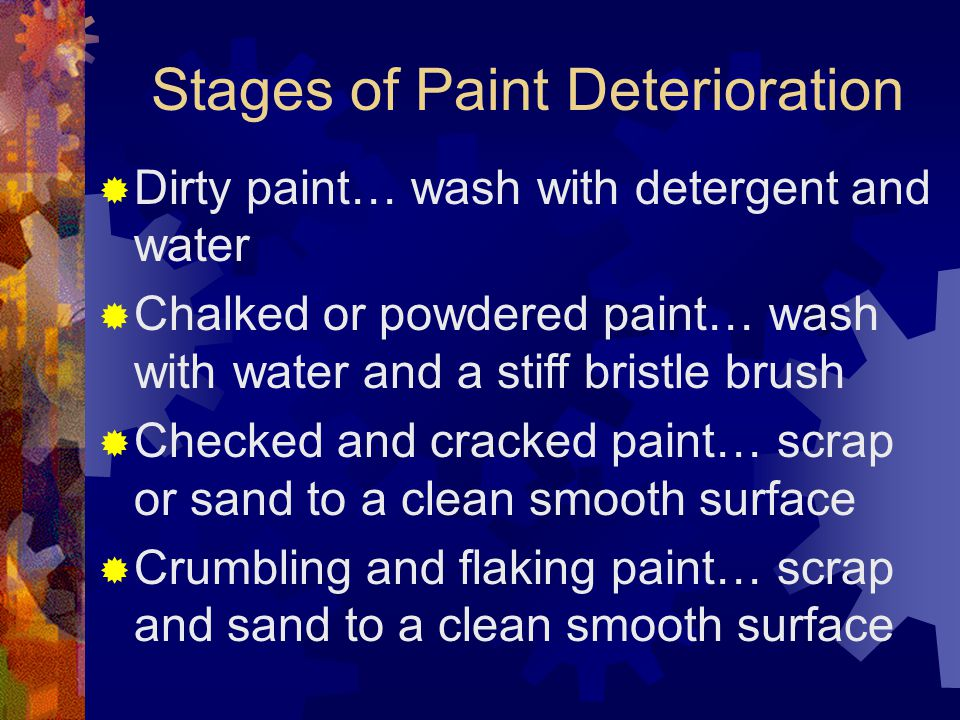 Preparing Surfaces When preparing metal for painting, use solvent to remove any oil film. Emery cloth, wire brushing, coarse sandpaper, or sandblastin