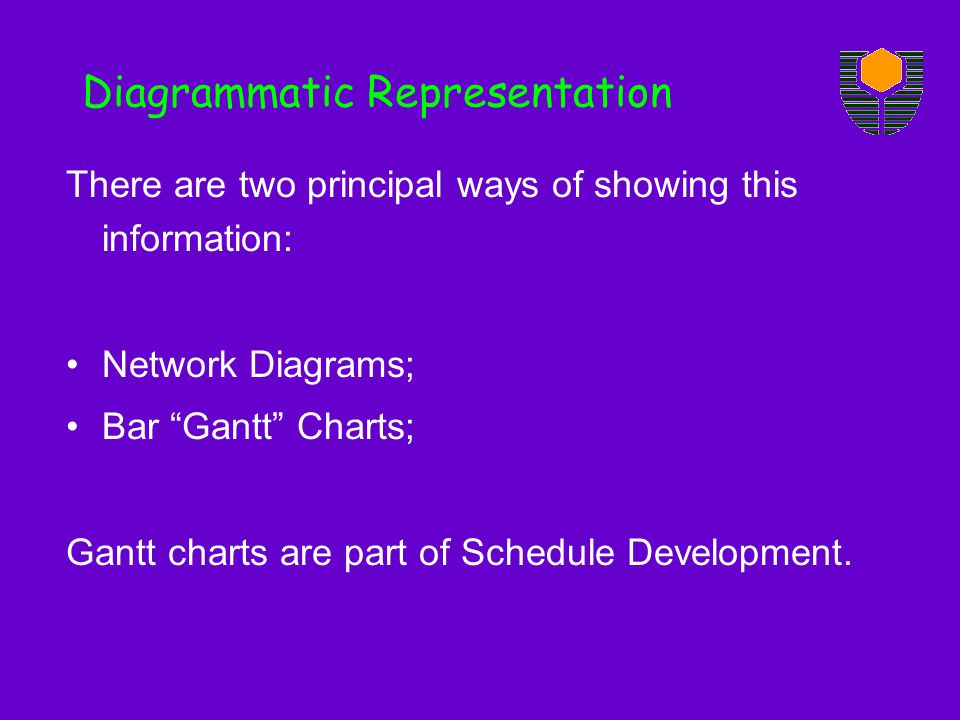 Diagrammatic Representation There are two principal ways of showing this information: Network Diagrams; Bar Gantt Charts; Gantt charts are part of Schedule Development.