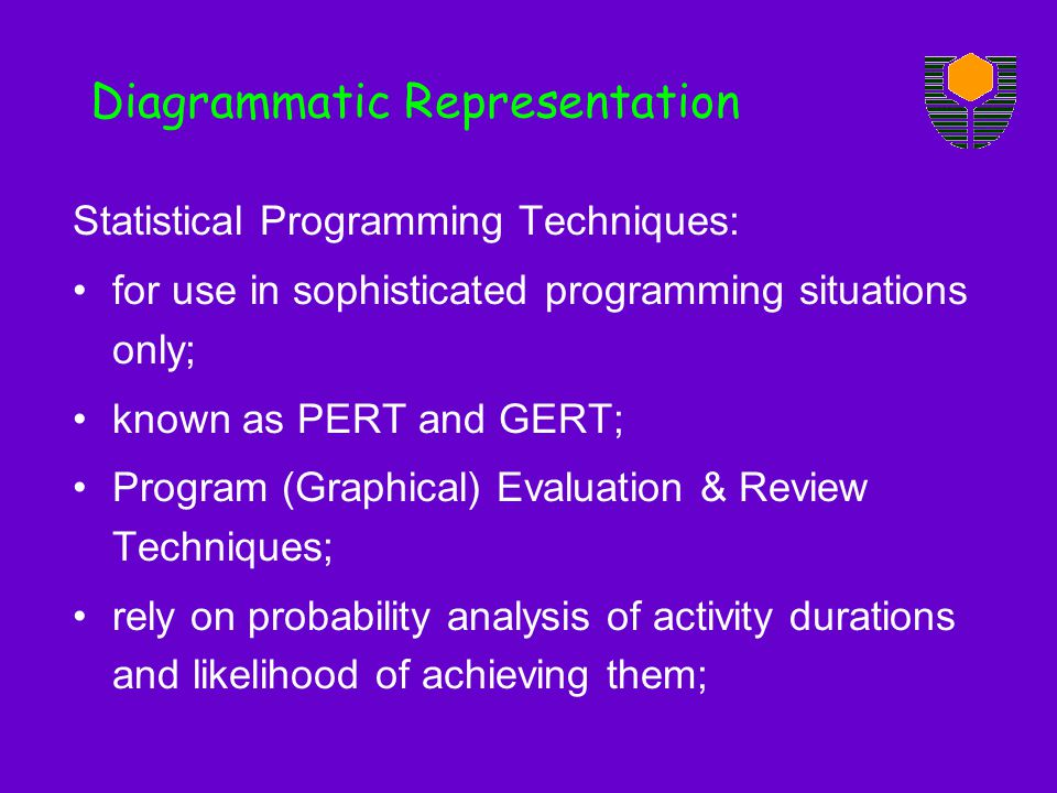 Statistical Programming Techniques: for use in sophisticated programming situations only; known as PERT and GERT; Program (Graphical) Evaluation & Rev