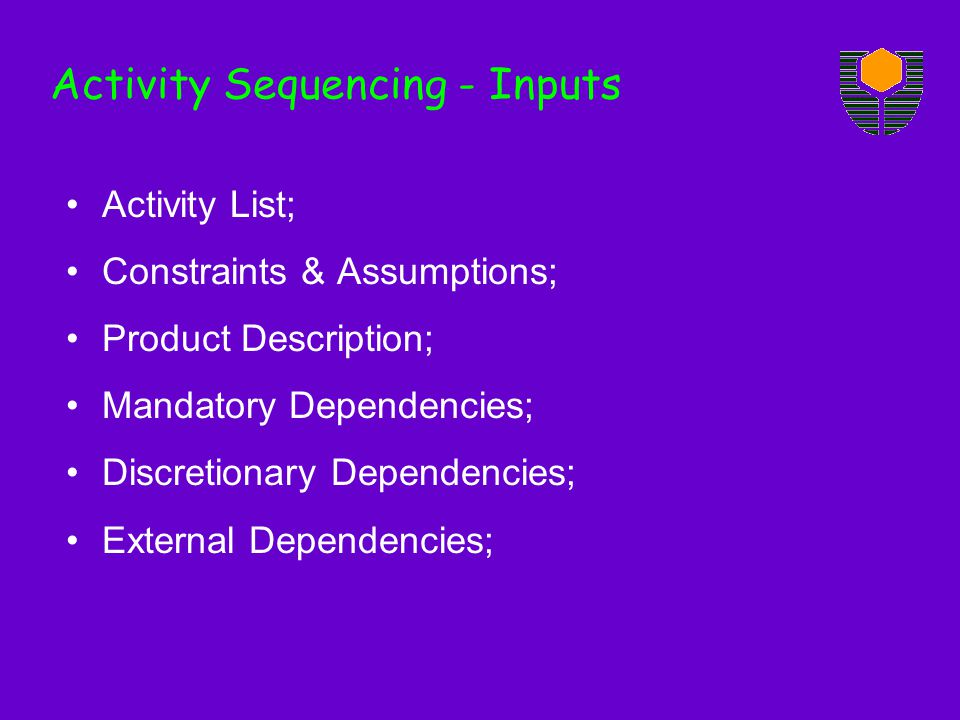 Activity Sequencing - Inputs Activity List; Constraints & Assumptions; Product Description; Mandatory Dependencies; Discretionary Dependencies; External Dependencies;