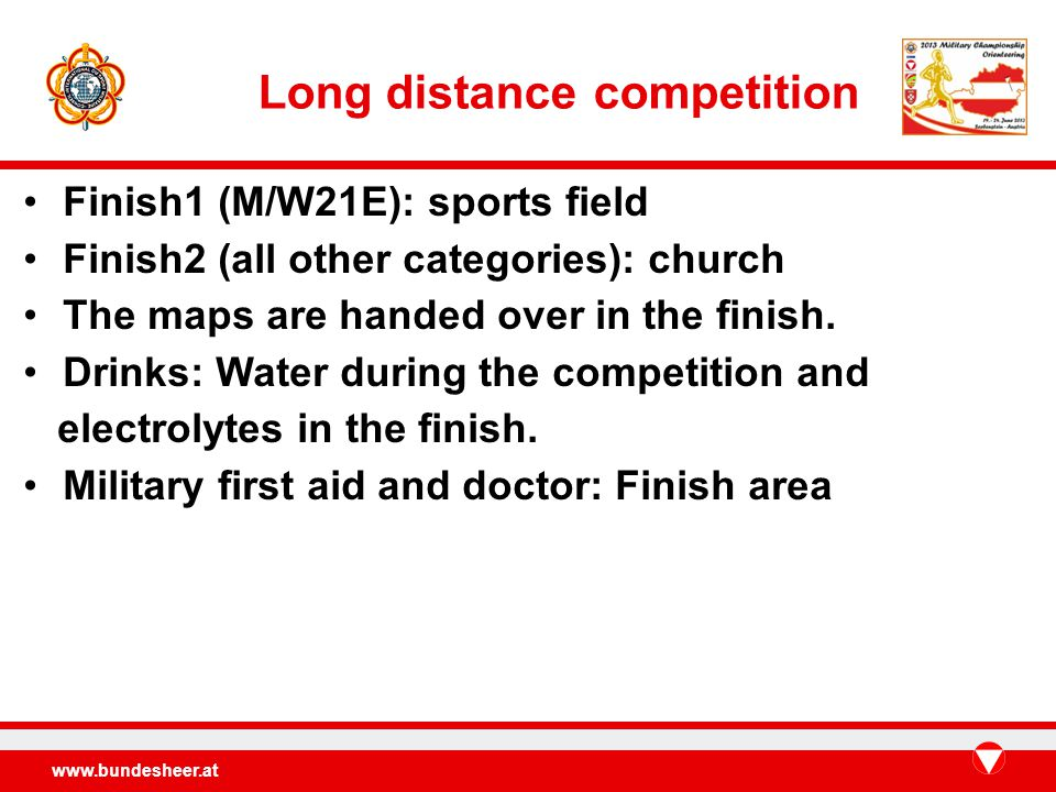 Finish1 (M/W21E): sports field Finish2 (all other categories): church The maps are handed over in the finish.