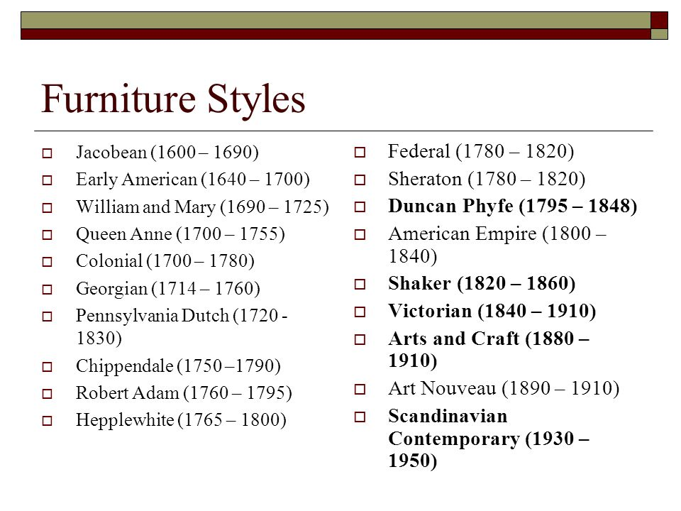 Furniture Styles Jacobean (1600 – 1690) Early American (1640 – 1700) William and Mary (1690 – 1725) Queen Anne (1700 – 1755) Colonial (1700 – 1780) Georgian (1714 – 1760) Pennsylvania Dutch (1720 - 1830) Chippendale (1750 –1790) Robert Adam (1760 – 1795) Hepplewhite (1765 – 1800) Federal (1780 – 1820) Sheraton (1780 – 1820) Duncan Phyfe (1795 – 1848) American Empire (1800 – 1840) Shaker (1820 – 1860) Victorian (1840 – 1910) Arts and Craft (1880 – 1910) Art Nouveau (1890 – 1910) Scandinavian Contemporary (1930 – 1950)