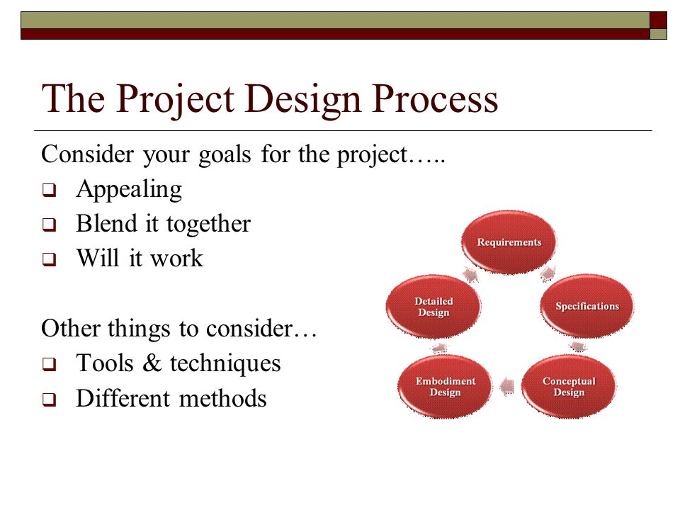 The Project Design Process Consider your goals for the project…..